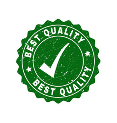 best quality grunge stamp with tick vector image