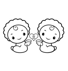 Black and white twins character sits aside signs vector