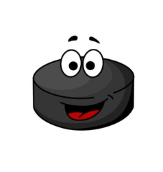 Black cartoon ice hockey puck vector image