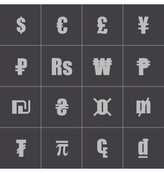 black currency symbols set vector image