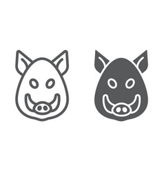 Boar line and glyph icon animal and zoo pet sign vector