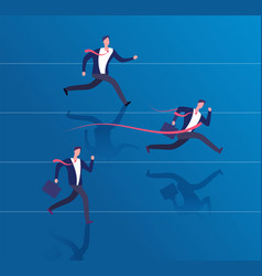 businessman crossing finish line success vector image