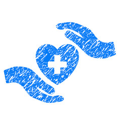 cardiology care hands grunge icon vector image