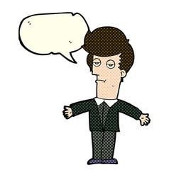 Cartoon bored man with speech bubble vector