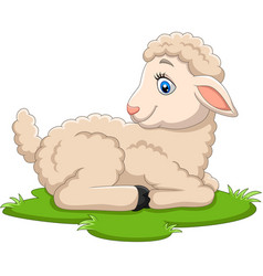 cartoon happy lamb sitting on grass vector image