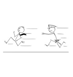 cartoon of businessman running from policeman vector image