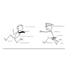 cartoon of businessman running from policeman vector image