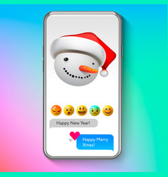 christmas emoji snowman in santas hat holiday vector image