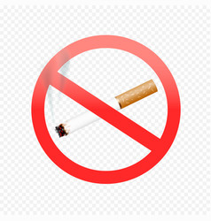 Cigarette forbid sign on transparent vector