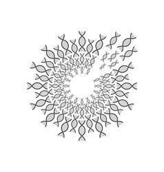 circle of DNA spiral design template vector image