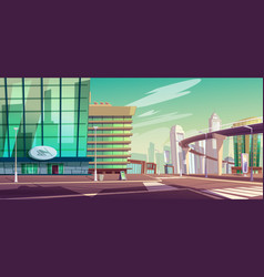 cityscape with crossroad and overpass highway vector image