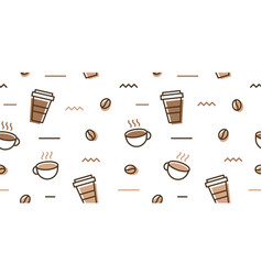 coffee bean mug cup memphis seamless pattern vector image