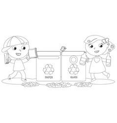 Coloring children recycling vector