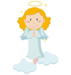 Cute angel flying in the sky vector