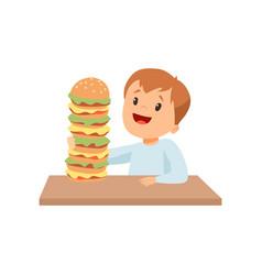 Cute happy boy with giant burger kid enjoying vector