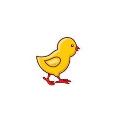 cute new-born baby chicken character side view vector image