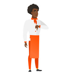disappointed african chef cook with thumb down vector image
