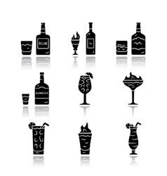 Drinks drop shadow black glyph icons set rum vector