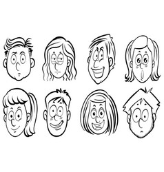Eight faces of human expressions vector