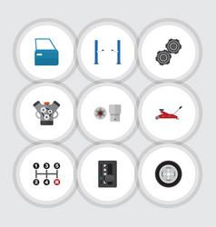 flat icon workshop set of turnscrew auto jack vector image