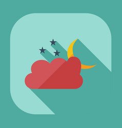 Flat modern design with shadow icons cloud moon vector