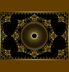 Frame with gold ornament on black background vector