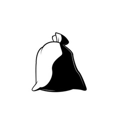Full closed knotted sack monochrome silhouette vector