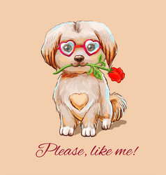 funny puppy in glasses hearts with with a red vector image