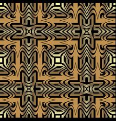gold 3d geometric waves greek seamless pattern vector image