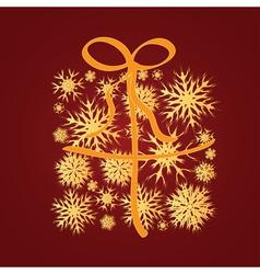 Golden snowflakes gift box vector image