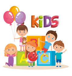 group of little kids playing with blocks vector image