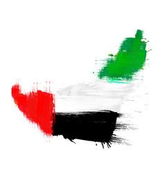 Grunge map united arab emirates with uae flag vector