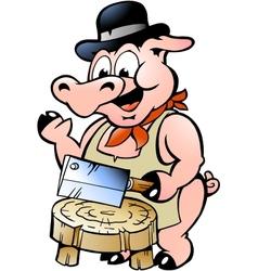 Hand-drawn an butcher pig vector