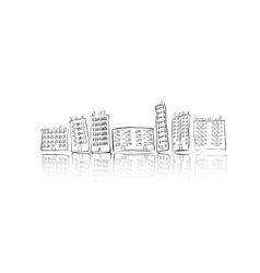 Hand drawn city of houses vector image