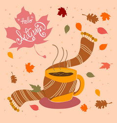 Hand drawn coffee cup with scarf and fall leaves vector