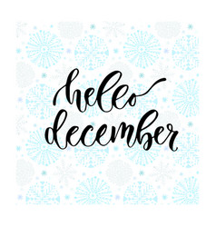 Hand drawn lettering hello december modern vector