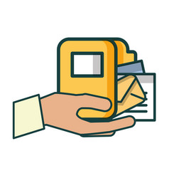 hand with folder and envelope vector image