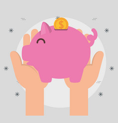 Hands with piggy money charity donation vector