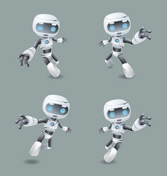 Heroic pose robot technology set vector