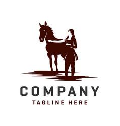 Horse and woman logos template vector