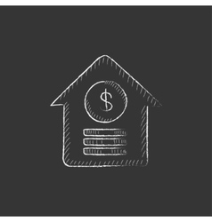 House with dollar symbol Drawn in chalk icon vector
