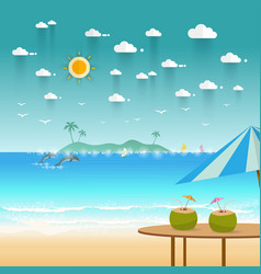Idyllic paradise coast landscape with mountains vector