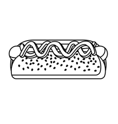 Isolated and shilhouette hot dog design vector