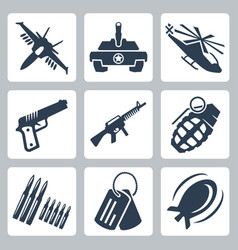isolated war icons set vector image