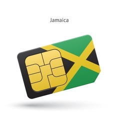 Jamaica mobile phone sim card with flag vector image