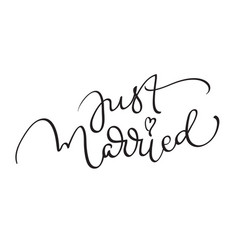 Just married words on white background hand drawn vector