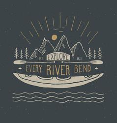 Kayak and canoe vintage label hand drawn sketch vector