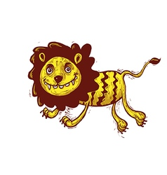 Lion cartoon jumping vector