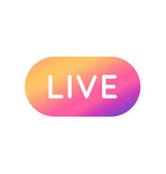 Live video streaming button with colorful vector