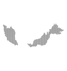 Malaysia map country abstract silhouette of wavy vector